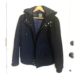 Men's Gap Navy Wool Coat With Hood  size M